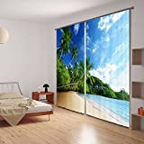 Ammybeddings Blackout Curtain 3D Blue Refreshing Summer Beach Sky Scenery Print Widow Light Blocking Panel Drapes,2 Panels 80W x 84L Inch Window Treatment Curtains with Hooks & Rings