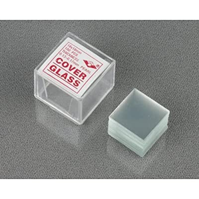 AmScope CS-S18-100 Pre-Cleaned Square Microscope Glass Cover Slides Coverslips,18 mm x 18mm (Pack of 100)