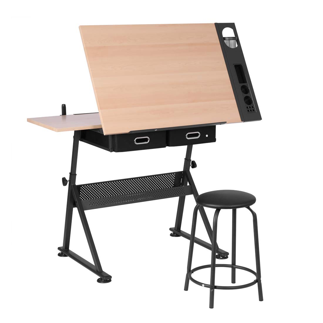 VIVOHOME Adjustable Height Drafting Desk Drawing Table with 2 Storage Drawers and Stool for Kids Adults Artists by VIVOHOME