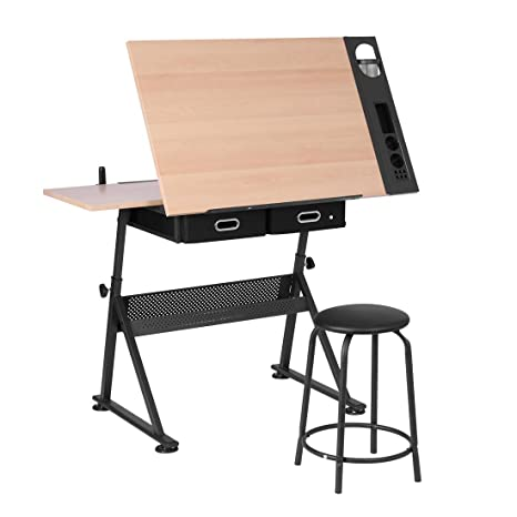 Miraculous Vivohome Adjustable Height Drafting Desk Drawing Table With 2 Storage Drawers And Stool For Kids Adults Artists Creativecarmelina Interior Chair Design Creativecarmelinacom
