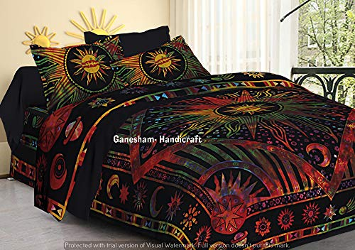 GANESHAM Indian Hippie Gypsy Bedroom Decor Bohemian Tapestry Boho Cotton Reversible Mandala Duvet Cover Set Queen Size Bedding Cover with 2 Pillow Cover ()