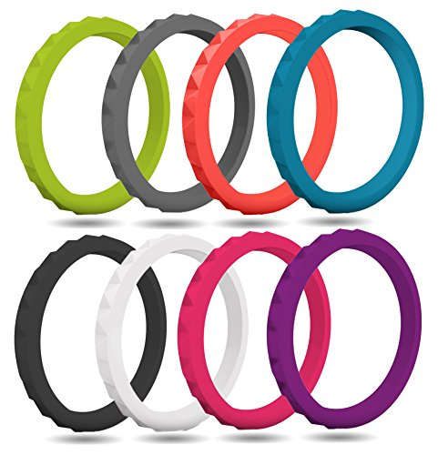 FluxActive Silicone Wedding Ring for Women (8 Pack) Thin Stackable Rubber Bands - Diamond Pattern (Violet, Hot Pink, Apricot, White, Blue, Gray, Apple Green, Black, 9)