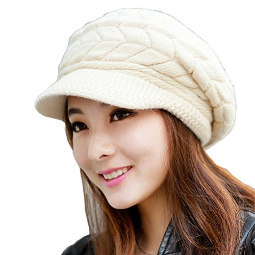 HINDAWI Women Winter Warm Knit Hat Wool Snow Caps With Visor, Beige