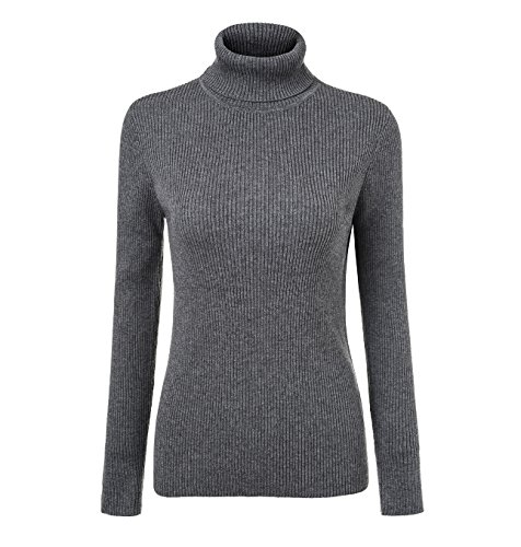 Fengtre Women's Cashmere Stretchy Turtleneck Basic Pullover Sweater Knit Top,MediumGrey M