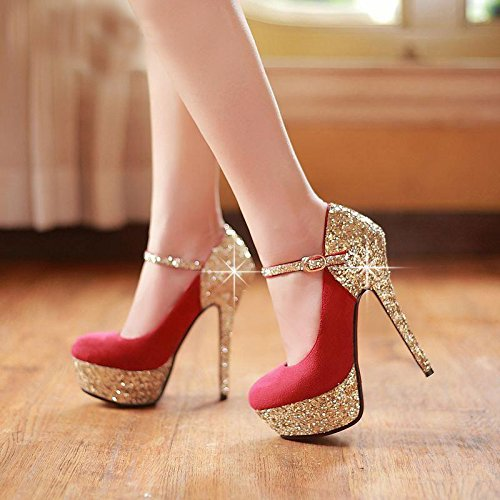 Sweet Shoes Heeled Trim Leather Prom 45 Blue VIVIOO Shoes The Red Are 7 Red High Sandals Size Cloth Sequins 34 xwEqP1I