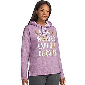 Hanes Women's Graphic Pullover Hoodie, Violet Touch Heather/Dream Wonder Explore, Medium