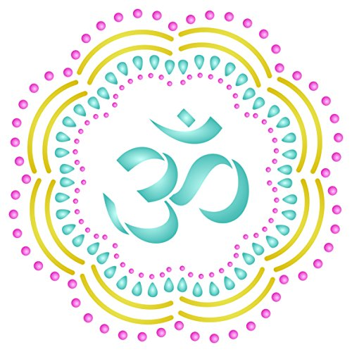OM Mandala Stencil - 14 x 14 inch (L) - Reusable AUM Indian Buddhist Spiritual Stencils for Painting - Use on Paper Projects Walls Floors Fabric Furniture Glass Wood etc. by Stencils for Walls