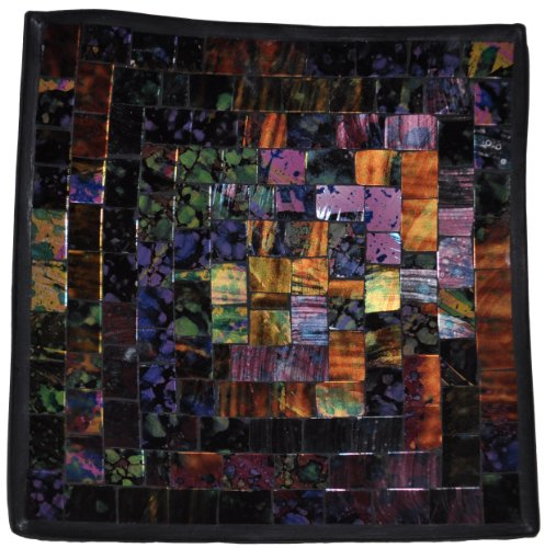 (Curious Designs Mosaic Glass Tray, Tile Color Will Vary - Collage Theme, Approx 7.5 Inches Square)