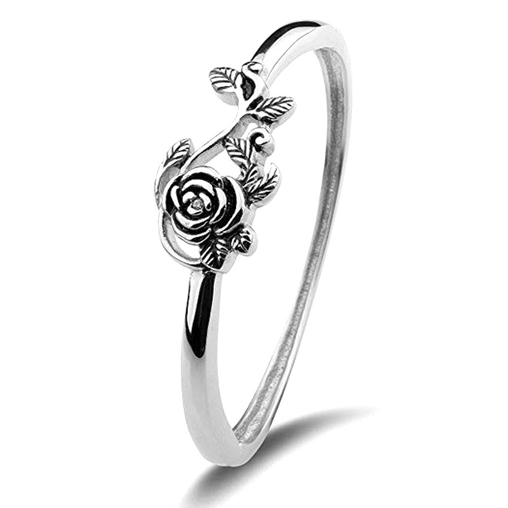 yanbirdfx Vintage Rose Flower Leaf Finger Ring Women Engagement Wedding Party Jewelry Simple Fashion Silver US 6