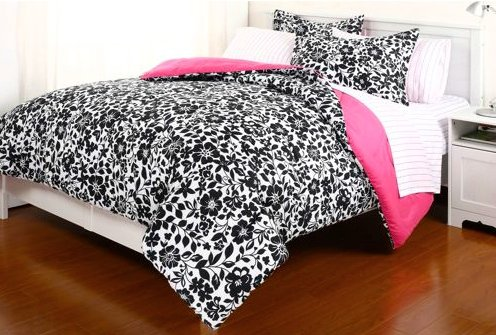 Amelia Comforter Set - 5pc Black White Pink Flower Floral Amelia College Dorm Twin Xl Comforter Set (5pc Bed in a Bag)
