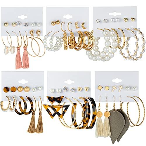 CHANBO 36 Pairs Fashion Hoop Earrings Set for Women Girls Bohemian Tassel Stud Drop Dangle Earrings Leather Leaf Earrings for Birthday Party Gift