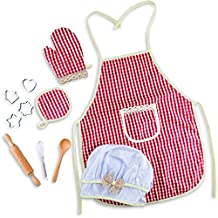 FestyFun Kid's Chef Baking and Cooking Play Set with Apron, Chef Hat, Oven Mitt and Utensils - Chef Dress-up, Costume, Pretend and Make Believe.