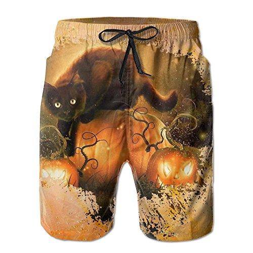 Mens Quick Dry Watercolor Halloween Cat Beach Shorts Swim Trunks Beach Board Shorts (Les Activites De L'halloween)