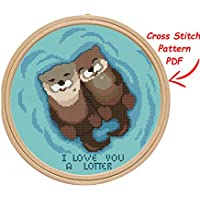 Counted cross stitch pattern printable chart, modern cute easy otters cross stitch design for beginners, home wall decor DIY. THIS IS NOT A KIT
