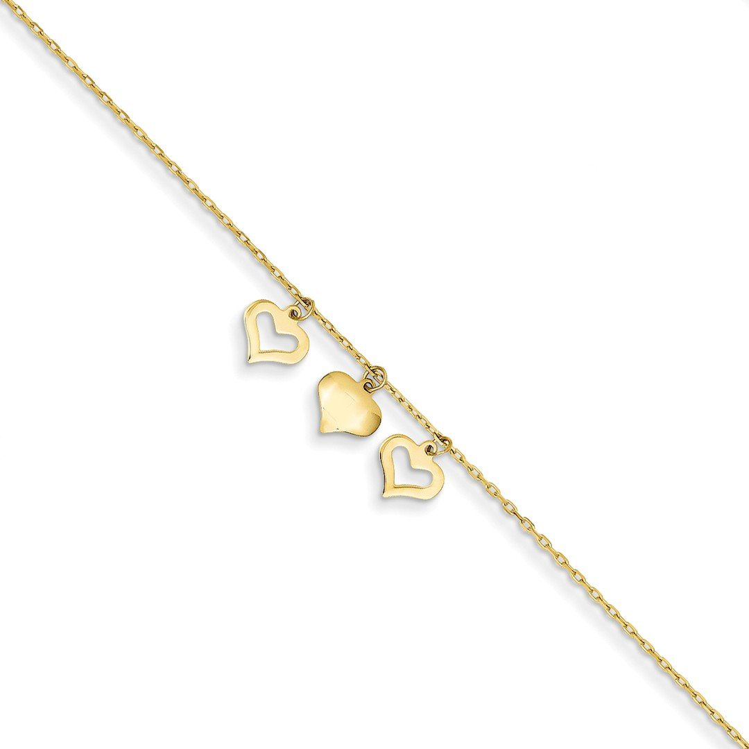 ICE CARATS 14k Yellow Gold 3 Hearts 1 Inch Adjustable Chain Plus Size Extender Anklet Ankle Beach Bracelet Fine Jewelry Gift Set For Women Heart