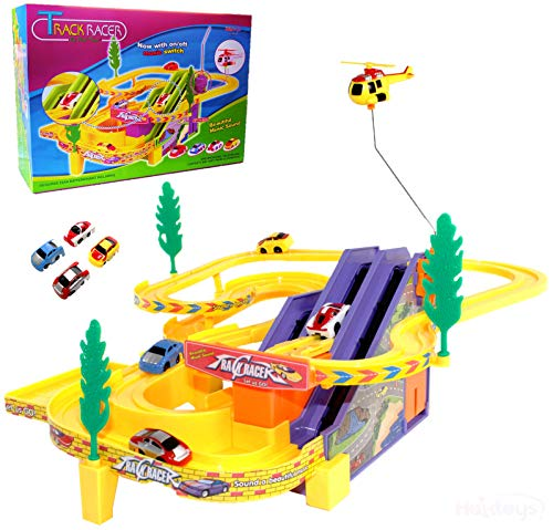 (Haktoys Authentic Track Racer PlaySet with Music On/Off Switch for Quiet Play Option | Battery Operated Sport Racing Cars & Helicopter Track Set | Great Gift Fun Toy for Toddlers & Kids)