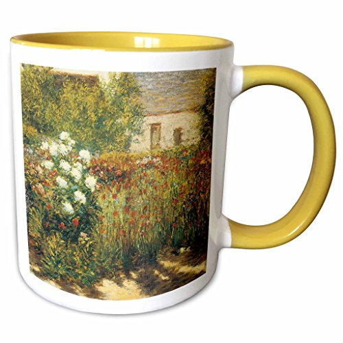 3dRose BLN Impressionist Fine Art Collection - Garden at Giverny by John Leslie Breck - 15oz Two-Tone Yellow Mug (mug_127308_13)