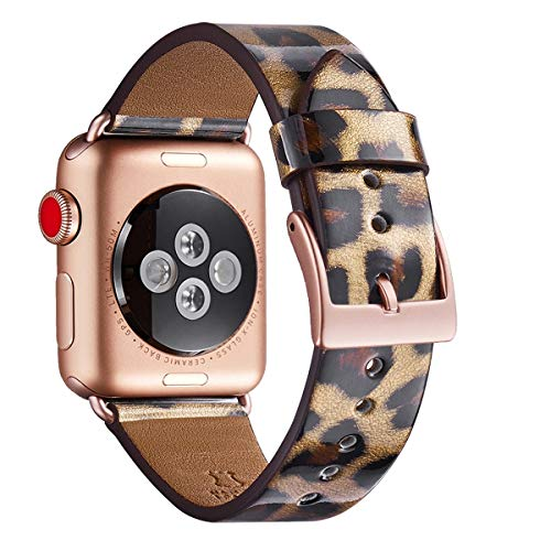 WFEAGL Compatible iWatch Band 38mm 40mm, Top Grain Leather Band with Gold Adapter (The Same as Series 4/3 with Gold Aluminum Case in Color) for iWatch Series 4/3/2/1 (Leopard band+Gold -