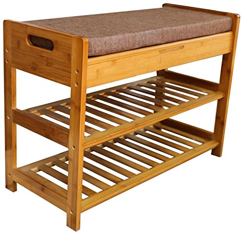Royal Brands Bamboo Shoe Rack and Storage Bench - 2 Tier Organizing Rack - Bench Seat - Perfect for Closets, Hallway or Bedroom (20.5