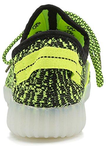 Joansam 7 Farben LED Luminous Unisex Sneakers Männer u. Frauen USB Aufladungslicht bunte glühende Freizeit blinkende Schuhe Sportschuhe Grün3