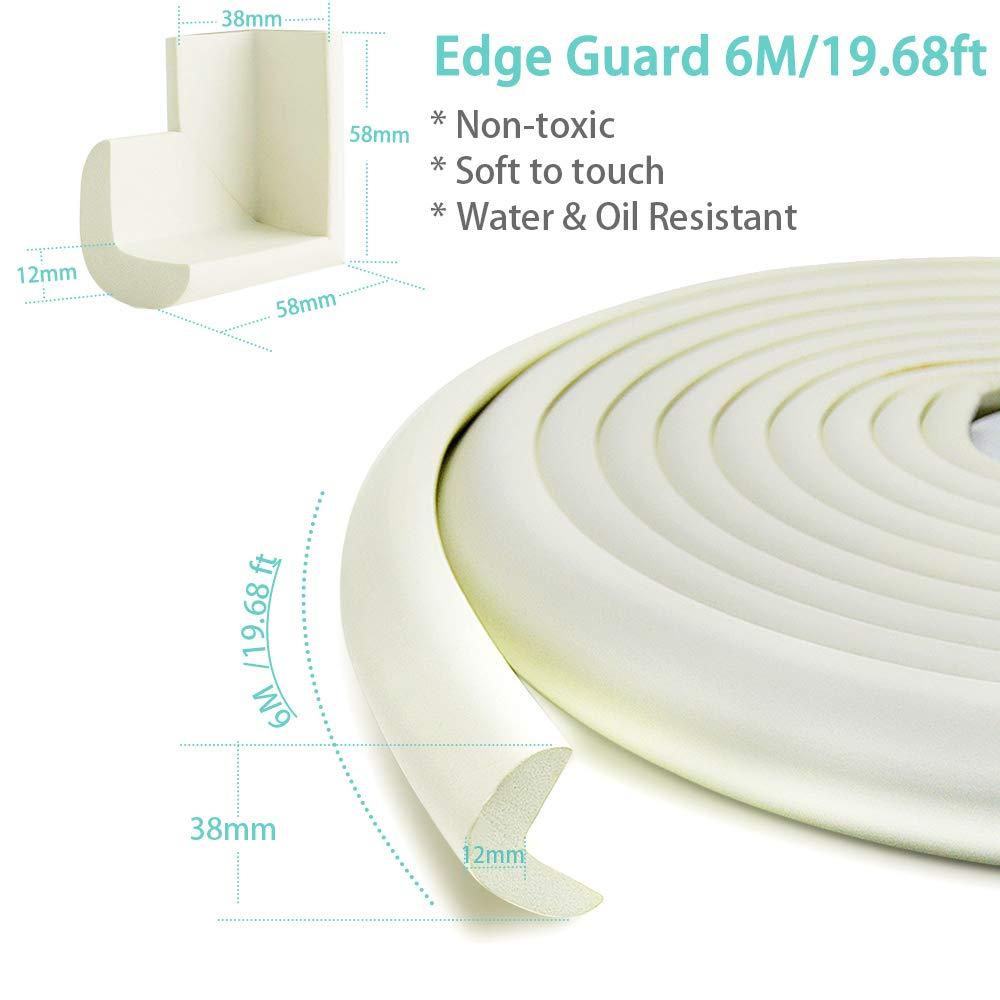 Blanco EXTRA DENSOS Cobertura de 6,0 m con 4 Topes Amortiguadores PREPEGADOS El Mejor Protector a Prueba de Ni/ños Para el Hogar Protectores Para Esquinas y Bordes EXTRA LARGOS
