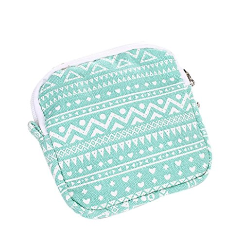 (DZT1968 Women Girl Cute Sanitary Pad Organizer Holder Napkin Towel Bags (Green))
