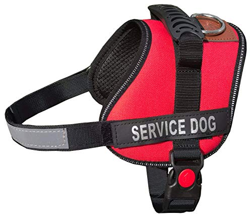 ALBCORP Reflective Service Dog Vest / Harness, Woven Polyester & Nylon, Comfy Soft Padding, SMALL, RED