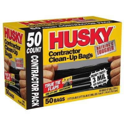 - Husky 42 Gallon Contractor Clean-Up 3-Mil Trash Bags (50-Count)