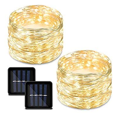 Bynhieo Led Solar String Lights Outdoor Waterproof Solar Fairy Lights with 8 Modes 33ft 100LED Pack of 2 Decorative String Lights for Patio, Garden, Christmas