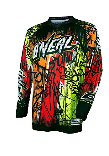 O'Neal Yth Element Unisex-Child Vandal Jersey (Black/Neon/Red, Large)