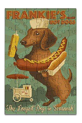 Savannah, Georgia - Dachshund - Retro Hotdog Ad (8x12 Premium Acrylic Puzzle, 63 Pieces)