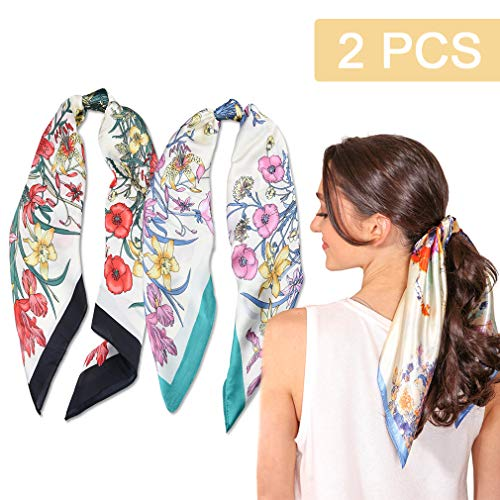 2Pcs Hair Scarf Scrunchies Silk Elastic Hair Print Bandana Scarf Ponytail Holder Scrunchy Ties Vintage Accessories for Women Girls