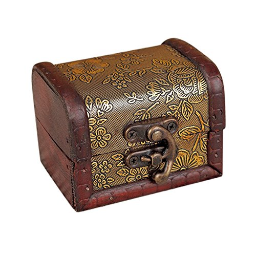 Anxinke Vintage Wooden Patterns Decorative Trinket Jewelry Case Organiztion Storage Box Handmade Treasure Case for Keeping Jewelry, Earrings, Rings (Gold)