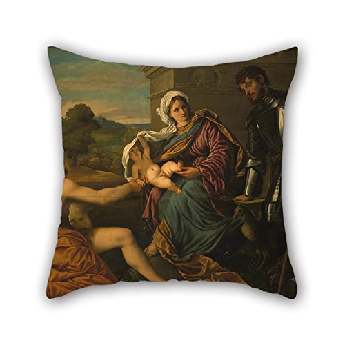 [Loveloveu 20 X 20 Inches / 50 By 50 Cm Oil Painting Paris Bordone - Madonna And Child With Saint John The Baptist And Saint George (Holy Conversation) Pillow Shams,each Side Is Fit For] (Madonna Material Girl Pink Dress Costume)