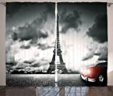 Ambesonne Cars Curtains, Romantic Landscape Famous Eiffel Tower on a Cloudy Day and Vibrant Red Vehicle Print, Living Room Bedroom Window Drapes 2 Panel Set, 108 W X 84 L Inches, Red Grey For Sale