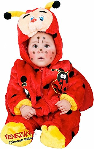 Italian Made Baby Girls Boys Plush Red Ladybird Animal Mini Beast Halloween Fancy Dress Costume Outfit 3-12 Months (6-9 Months) ()