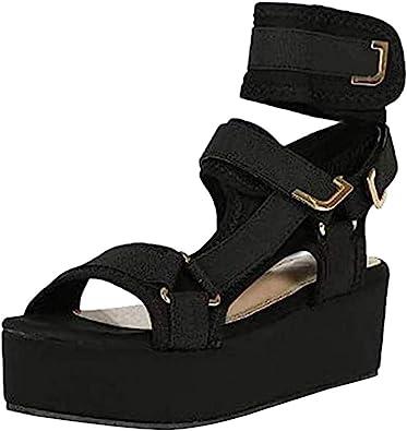 MELOSS Platform Sandals for Women Open Toe Tie Leg Shoe Ankel Strap Sexy Platform Sandals Comfortable Velcro Flats