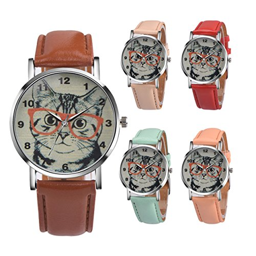 Womens Quartz Watch COOKI Clearance Cat Analog Female Watches Lady Watches on Sale Leather Watch-H78
