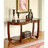 Cheap Furniture of America Byrnee Sofa Table with 5mm Beveled Glass Top, Dark Cherry Finish