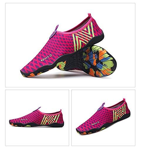 Humasol Men Women's Lightweight Water Quick-Dry Aqua Shoes Multifunctional Water Lightweight Socks for Swim Beach Pool B073WTHCR6 US Women:11-11.5/ Men:9.5-10 (EU 41-42)|Ncheck-Rose red f6edd6