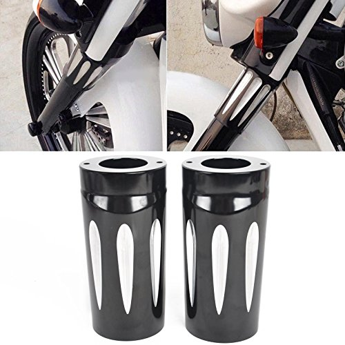 TJMOTO CNC Edge Cut Upper Boot Slider Fork Covers for Harley Davidson Touring 1997-2013 Electra Glide Road King Street Glide