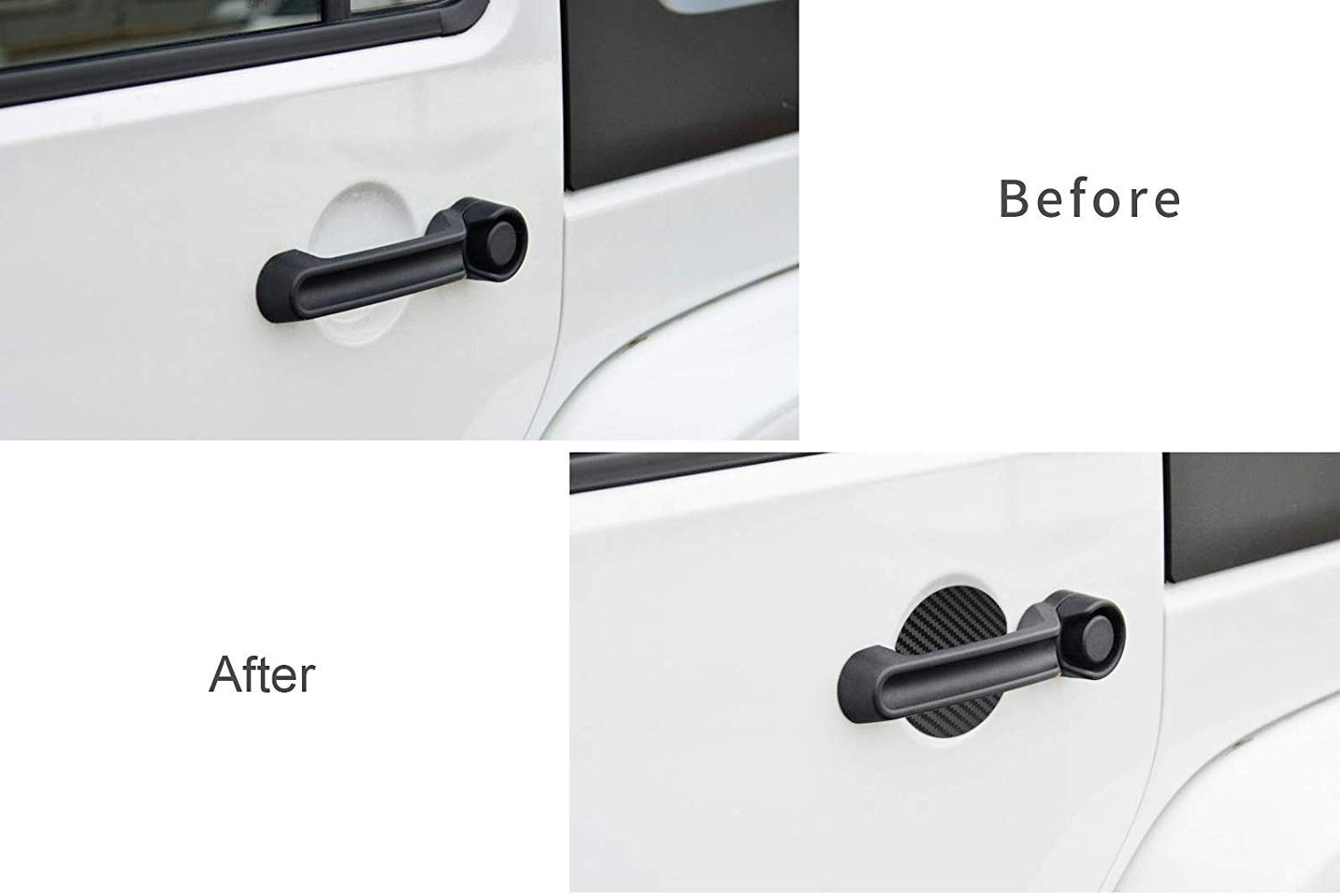 MLING 4 PCS Magnetic Car Door Handle Insert Cover Anti Scratches Guard Paint Protector Compatible for Wrangler JK