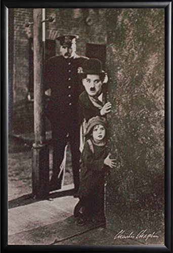 Framed Charlie Chaplin  24x36 Movie Poster in Matte Black Finish Wood Frame The Kid Around The - Chaplin Charlie Movie Posters