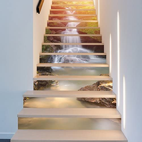Chezmax 3d Scenery Pattern Stair Risers Stickers Set Staircase Decals Removable Waterproof Mural Wallpaper For Home Decoration 7 1 X 39 4 Waterfall