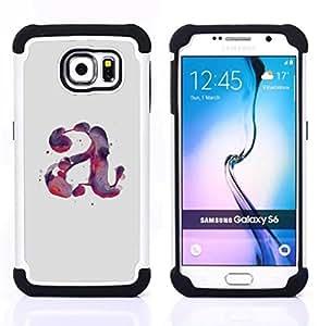 """Samsung Galaxy S6 / SM-G920 - 3 en 1 impreso colorido de Altas Prestaciones PC Funda chaqueta Negro cubierta gel silicona suave (Carta Acuarela Pintura Púrpura Rojo"""")"""