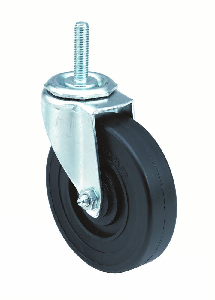 E.R. Wagner Stem Caster, Swivel, Polyolefin Wheel, Plain Bearing, 280 lbs Capacity, 5'' Wheel Dia, 1-1/4'' Wheel Width, 5-1/2'' Mount Height, 7/16'' Stem Dia, 1-1/2'' Stem Height