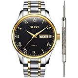 Black Inexpensive Watches for Men - OLEVS Waterproof Black Mens Calendar Watch Stainless Steel with Date Analog Quartz Couple Watches for Birthday Party Business Father's Day Gift