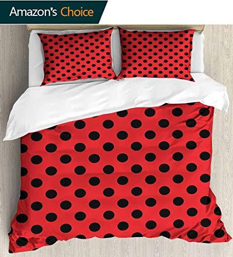 - Red and Black Bedspread Set Queen Size,Retro Vintage Pop Art Theme Old 60s 50s Rocker Inspired Bold Polka Dots Image Kids Bedding-Does Not Shrink or Wrinkle 90