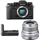 Fujifilm X-T2 Mirrorless Digital Camera (Black) w/ XF23mm F2 Silver Lens & Vertical Power Booster
