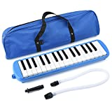 32 Key Melodica, Irich Piano Style Keyboard Instrument with Carry Bag - Music Education & Music Enlightenment for Students, Children, Adults, Piano Beginners (Blue)